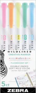 bokomslag Märkpenna Zebra Mildliner dubbelspets Fluorescent 5 färger