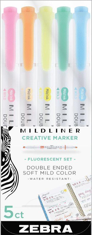 Märkpenna Zebra Mildliner dubbelspets Fluorescent 5 färger 1