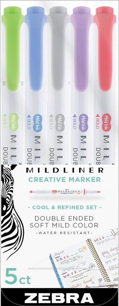 Märkpenna Zebra Mildliner dubbelspets Cool & Refined 5 färger