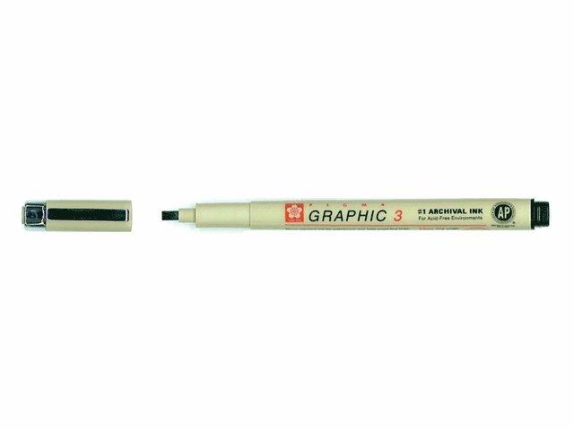 Kalligrafipenna 3mm Pigma Graphic svart 1