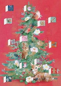 Adventskalenderkort Floral Woodland Tree