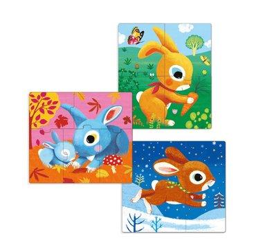 Pussel 3+4+5 bitar Kaniner 3-pack 2