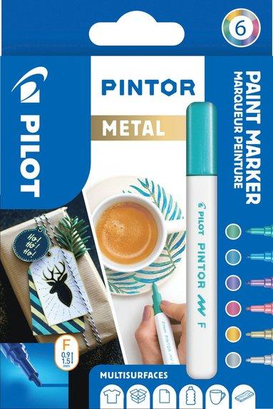 Märkpenna Pilot Pintor Metal F 6 färger