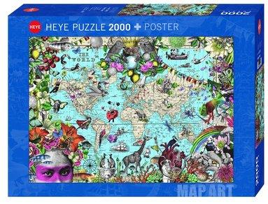 Pussel 2000 bitar Fine Art Map Quirky World