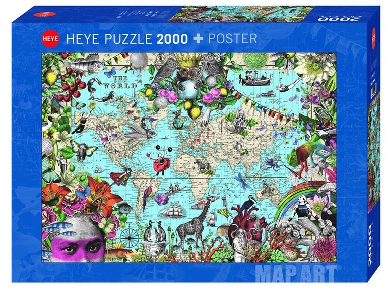 Pussel 2000 bitar Fine Art Map Quirky World 1