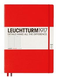 Anteckningsbok Leuchtturm A4+ slim linjerad röd