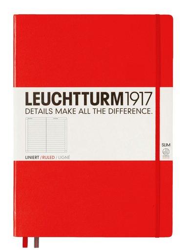 Anteckningsbok Leuchtturm1917 A4+ slim linjerad röd