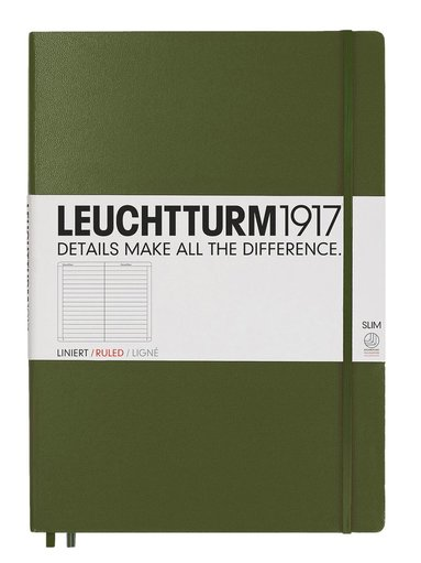 Anteckningsbok Leuchtturm1917 A4+ Slim linjerad mörkgrön