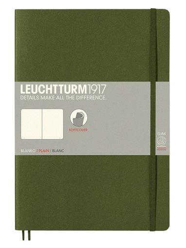 Anteckningsbok Leuchtturm B5 olinjerad mjuk militärgrön