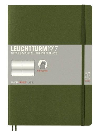 Anteckningsbok Leuchtturm B5 linjerad mjuk militärgrön