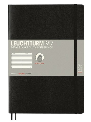 Anteckningsbok Leuchtturm1917 B5 linjerad mjuk svart