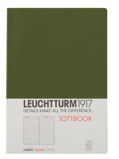 Skrivhäfte Leuchtturm Jottbook A5 linjerad militärgrön