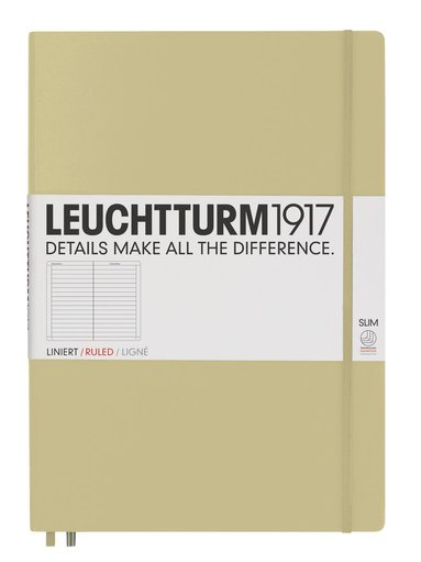Anteckningsbok Leuchtturm1917 A4+ Slim linjerad sand