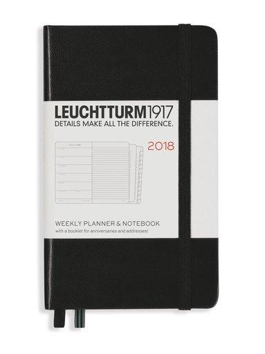 Kalender 2018 Leuchtturm A6 Vecka/Sida note svart 1