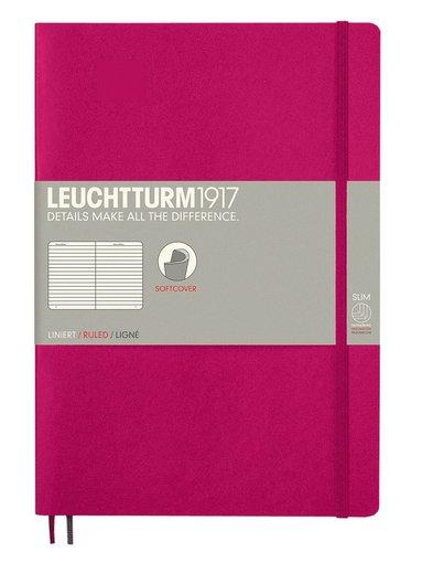 Anteckningsbok Leuchtturm B5 linjerad mjuk pärm cerise