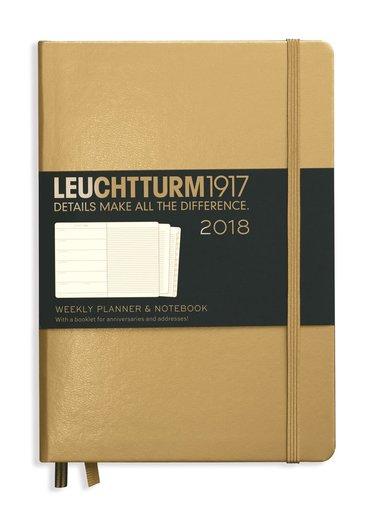 Kalender 2018 Leuchtturm A5 Vecka/Sida note guld 1