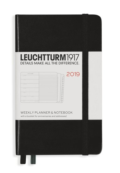 Kalender 2019 Leuchtturm A6 Vecka/Sida notes svart
