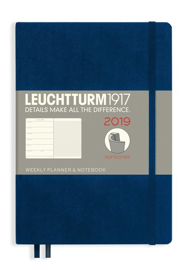 Kalender 2019 Leuchtturm A5 Vecka/Sida notes mjuk blå