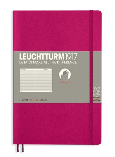 Anteckningsbok Leuchtturm1917 B6 linjeraderad mjuk pärm pärm cerise