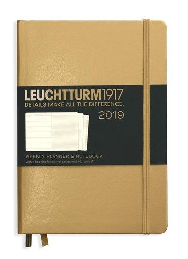 Kalender 2019 Leuchtturm A5 Vecka/Sida notes guld