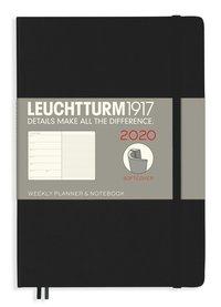 Kalender 2020 Leuchtturm A5 Vecka/Uppslag notes mjuk svart