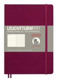 Kalender 2020 Leuchtturm A5 Vecka/Uppslag notes mjuk röd