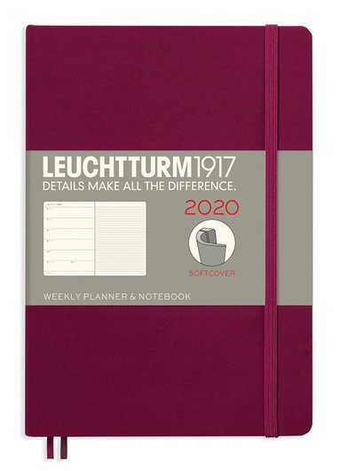 Kalender 2020 Leuchtturm A5 Vecka/Uppslag notes mjuk röd 1