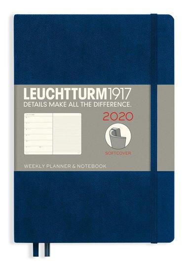 Kalender 2020 Leuchtturm A5 Vecka/Uppslag notes mjuk blå 1