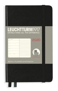 Kalender 2020 Leuchtturm A6 Vecka/Uppslag notes mjuk svart