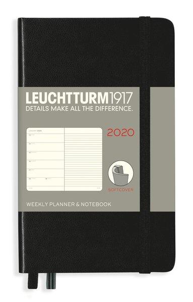 Kalender 2020 Leuchtturm A6 Vecka/Uppslag notes mjuk svart 1