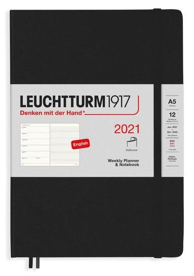 Kalender 2021 Leuchtturm1917 A5 Vecka/Sida notes mjuk svart