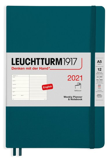 Kalender 2021 Leuchtturm1917 A5 Vecka/Sida notes mjuk grön