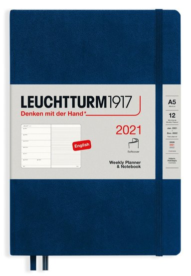 Kalender 2021 Leuchtturm1917 A5 Vecka/Sida notes mjuk marinblå