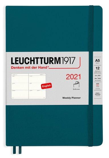 Kalender 2021 Leuchtturm1917 A5 Vecka/Uppslag mjuk grön