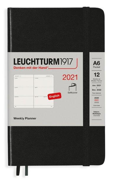 Kalender 2021 Leuchtturm1917 A6 Vecka/Uppslag mjuk svart