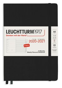Kalender 2020-2021 18 mån A5 Vecka/sida svart