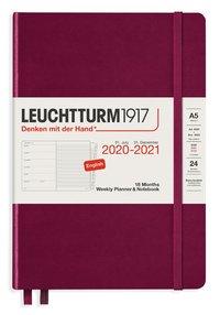 Kalender 2020-2021 18 mån A5 Vecka/sida röd