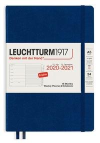 Kalender 2020-2021 18 mån A5 Vecka/sida blå