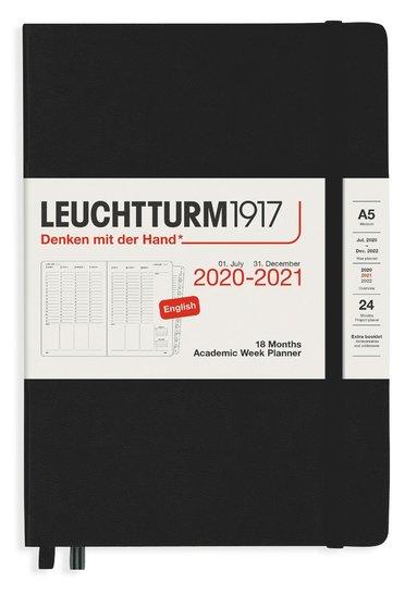 Kalender 2020-2021 18 mån A5Vecka/uppslag svart