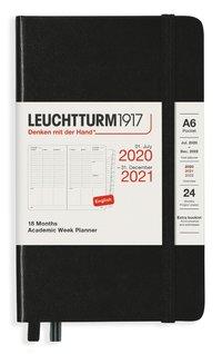 Kalender 2020-2021 18 mån A6 Vecka/uppslag svart