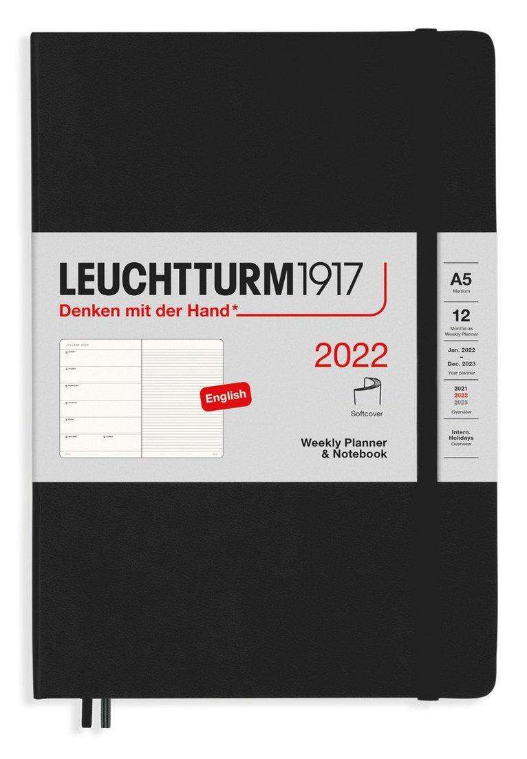 Kalender 2022 Leuchtturm1917 A5 vecka/notes mjuk svart 1