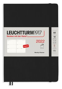 Kalender 2022 Leuchtturm1917 A5 vecka/uppslag mjuk svart