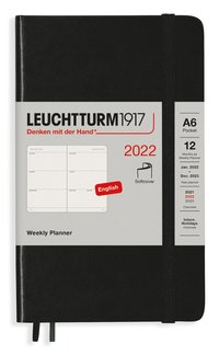 Kalender 2022 Leuchtturm1917 A6 vecka/uppslag mjuk svart