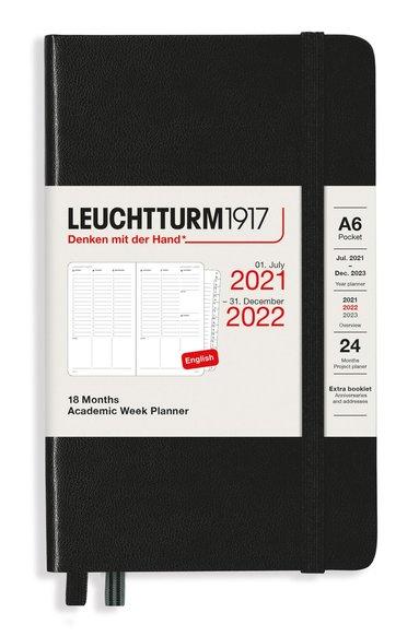Kalender 2021-2022 18 mån A6 Vecka/uppslag svart 1