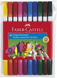 Fiberspetspenna dubbelspets 10 färger