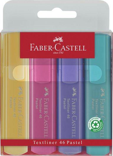 Överstrykningspenna Faber-Castell 3 st pastell, 1 neon