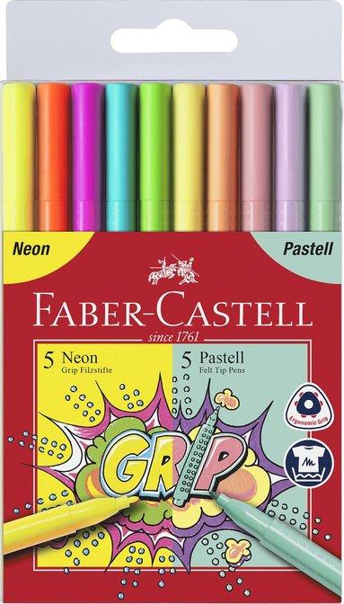 Fiberspetspenna Grip 10 färger neon/pastell 1