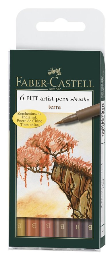 Pennset PITT Artist Pen Brush 6-pack terra
