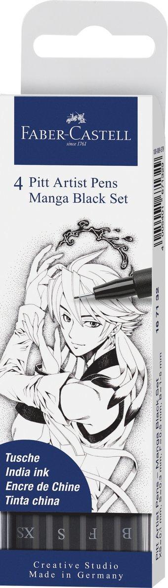 Pennset PITT Artist Pen Manga 4-pack svart