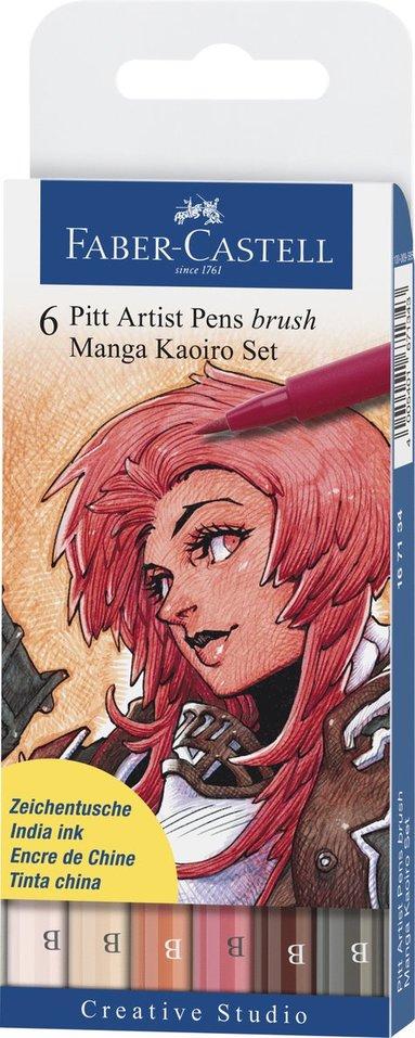 Pennset B PITT Artist Pen Manga Kaoiro 6-pack